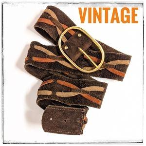 "Vintage Boho Suede Laced Belt Brass buckle Sz 32"""